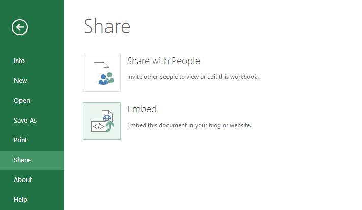 Embed Excel online