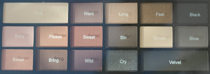Makeup Revolution I heart makeup Velvet palette shades