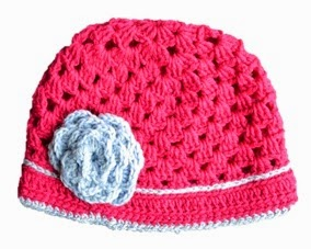 Pink Crocheted Hat with Grey Stripe and Flower