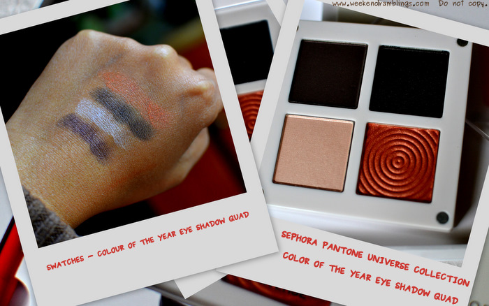 sephora pantone universe colour of the year collection makeup swatches beauty blog 2012 tangerine tango eye shadow quad