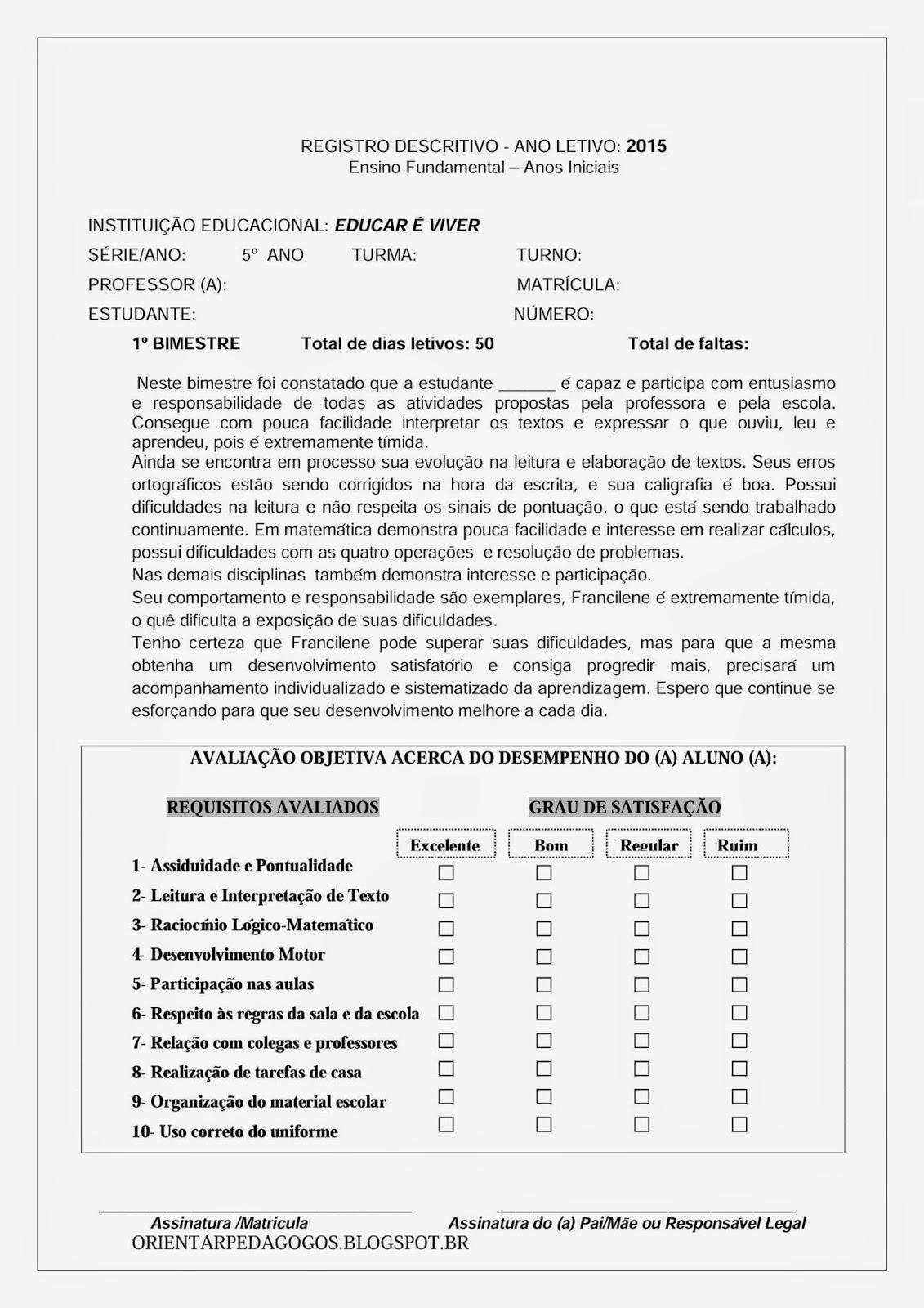 Top CAR É VIVER: Relatório Descritivo 5º ano/ 4ª sérieEDU AE35
