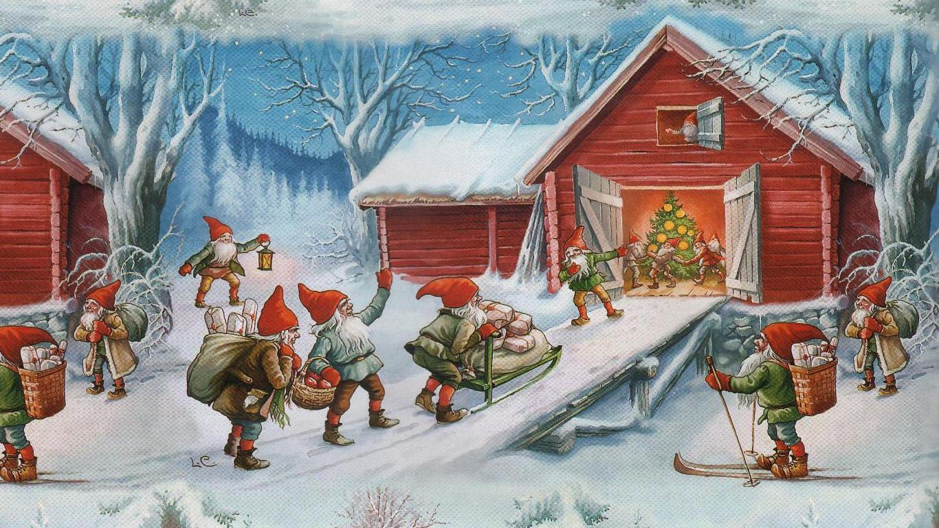 old fashioned christmas town wallpaper - photo #29