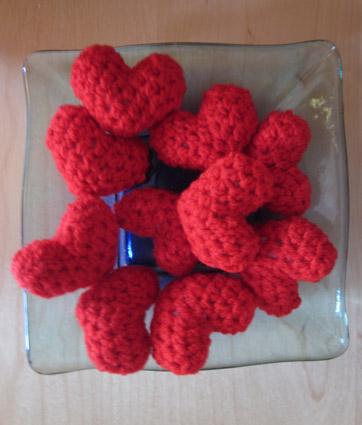 Corazones de crochet- ganchillo