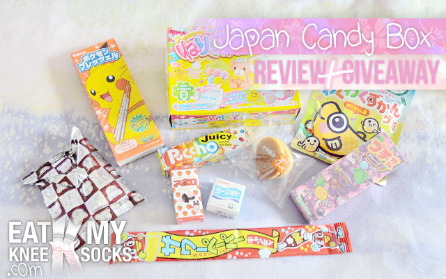 A review of the June 2015 Japan Candy Box, along with a giveaway of a snack-filled box to a lucky winner, brought to you by Eat My Knee Socks/Mimchikimchi.