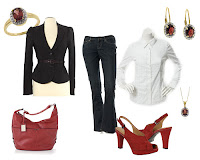 Gorgeous belted jacket and jeans outfit with pops of red with the accessories...