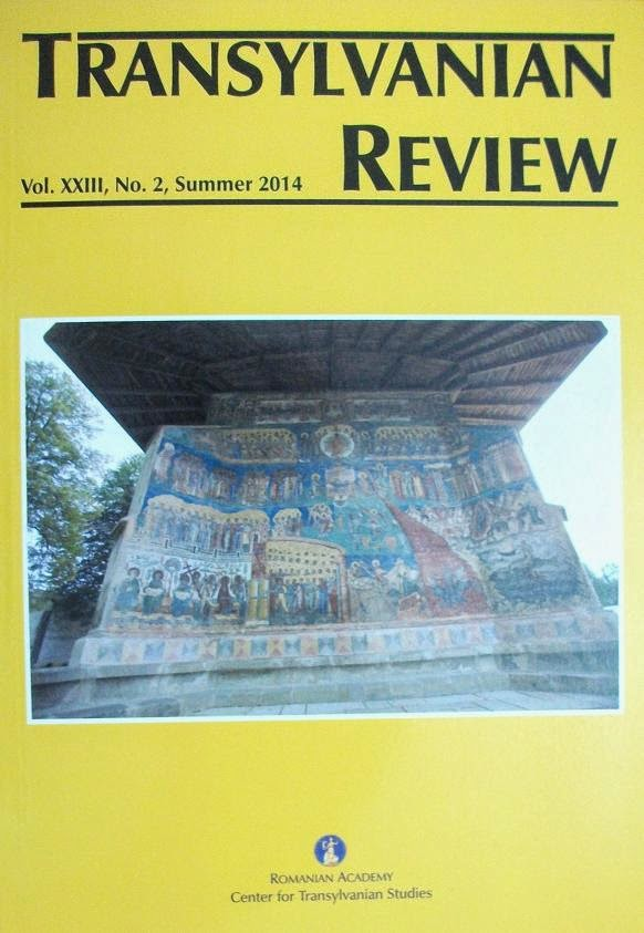 Coperta 1 a revistei Transylvanian Review, vol. XXIII, No. 2, Summer 2014....