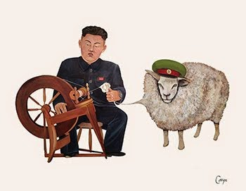 "Check out my newest mural! ""Junior (Kim Jong Un) At The Spinning Wheel"""