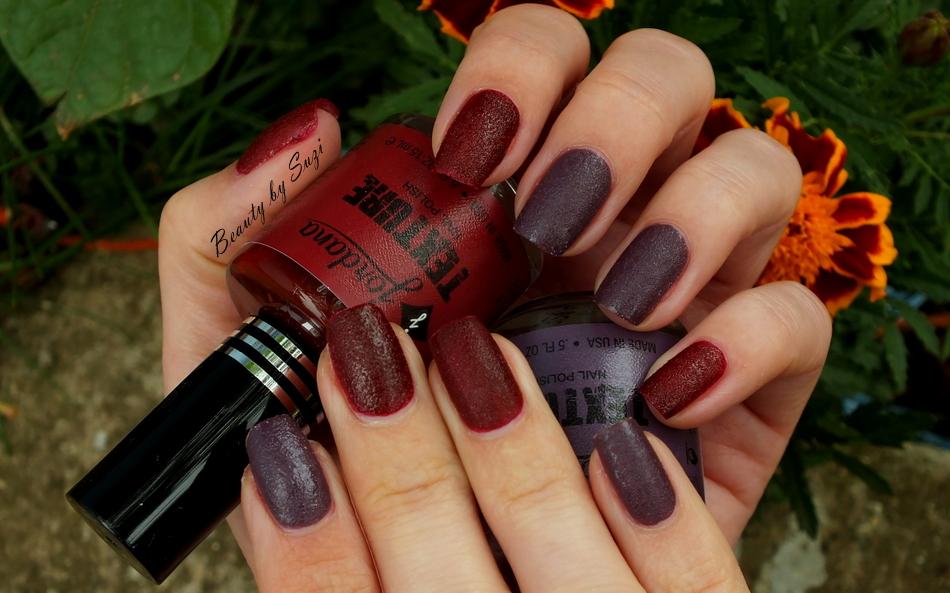 Jordana Texture Nail Polish, 16 Classic Plum & 19  Victorian Rouge