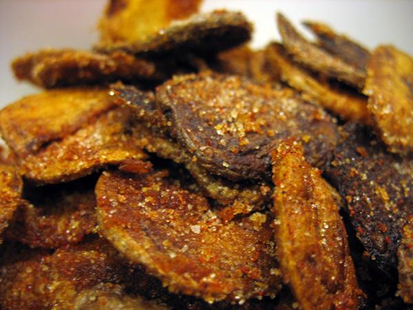 Three potato bbq chips.