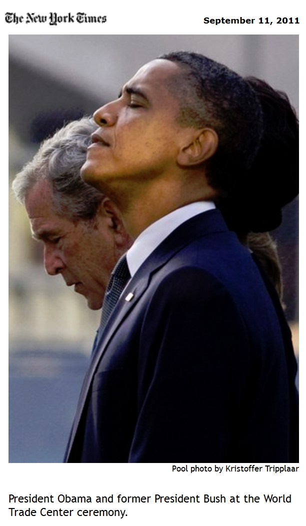 Here s a photo captured of Obama standing next to George Bush at the 9 11 memorial service  Tell us why only one man s head is bowed down