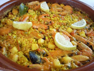 Las recetas de las mellizas cazuela de paella de mariscos - Paella de pescado ...