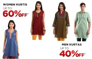 Buy Shree Men's Kurta for Rs.299 & Women's Kurti for Rs.209 @ Myntra