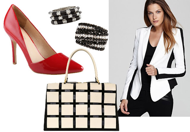 black white outfit, black white  jacket, also shoes, red shoes, marni bag