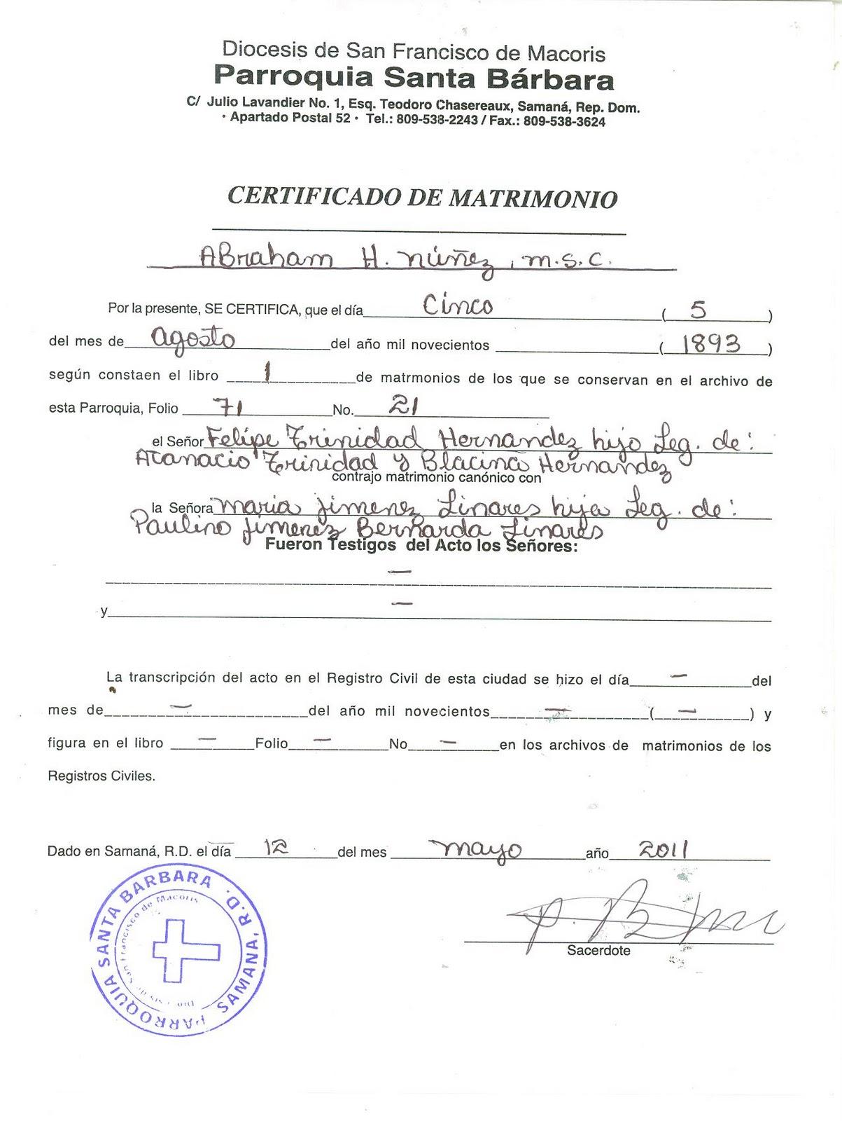 Matrimonio Catolico Sin Confirmacion : Mi pais acta de matrimonio victoriano y felipe