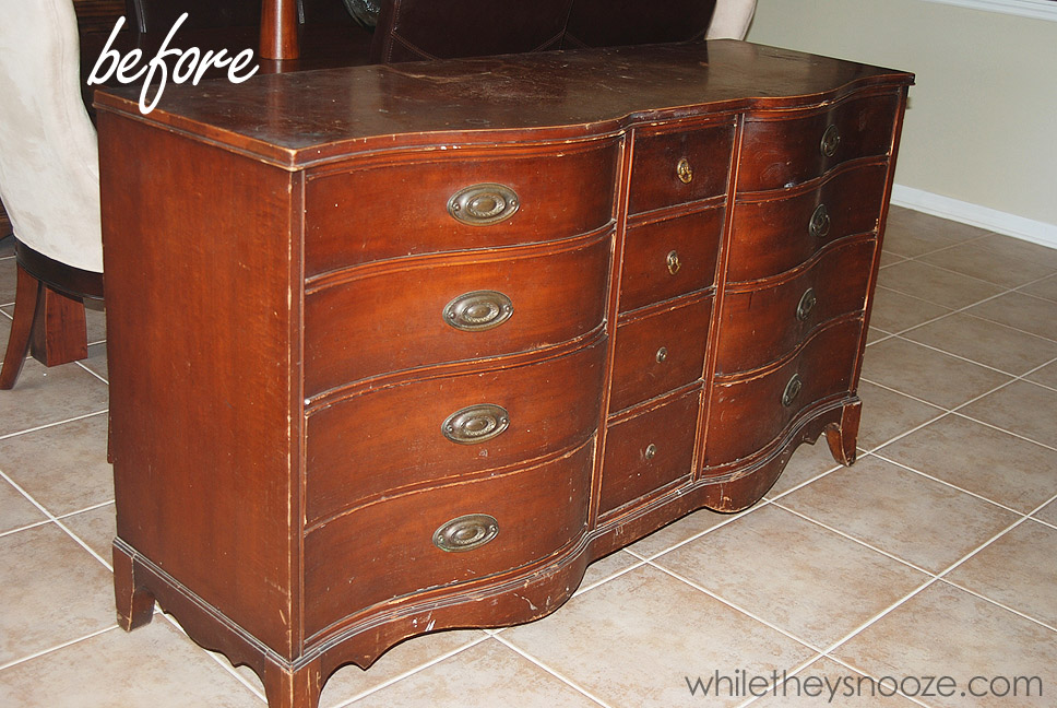 Refinishing Old Furniture - Morganton Serpentine Dresser - While They Snooze: Refinishing Old Furniture - Morganton Serpentine