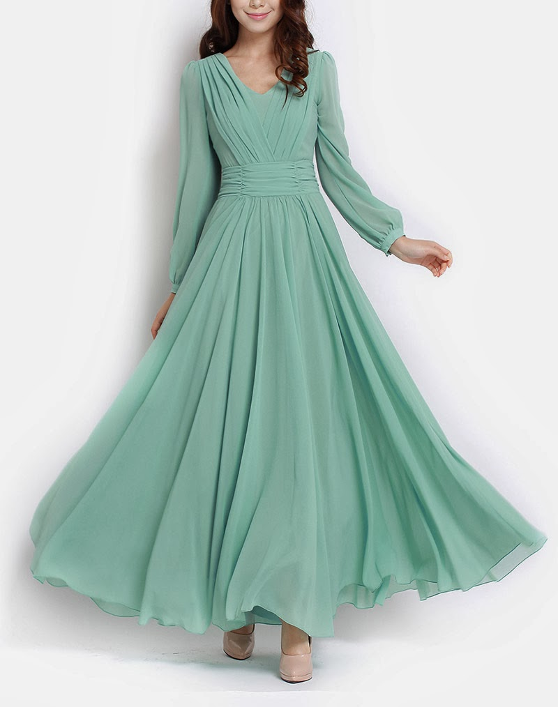 LONG SLEEVE CHIFFON MAXI PASTEL GREEN, ALL SIZES AVAILABLE NOW! (PRE-ORDER)