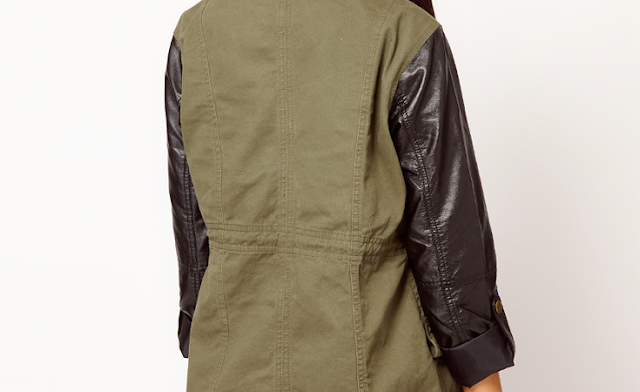 topshop leather sleeve faux leather army green military jacket fall trends river island asos