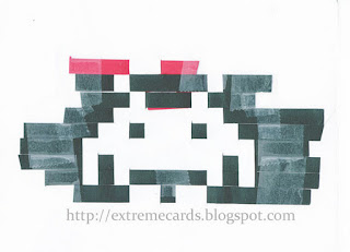 woven space invader Christmas card