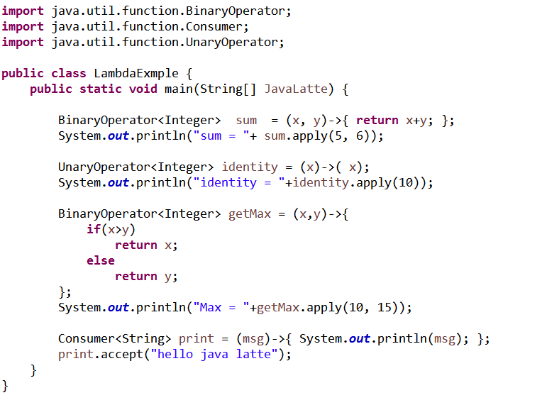 Java-Latte: Syntax for Lambda expression in Java