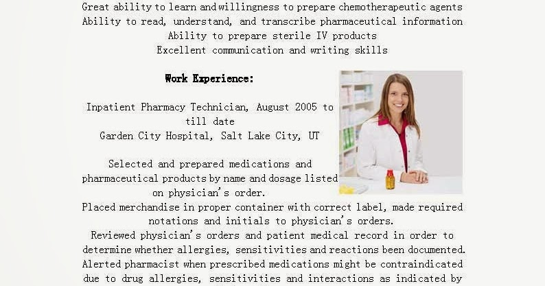 resume sles inpatient pharmacy technician resume sle