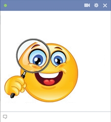Facebook Smiley Examining With A Magnifying Glass