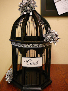 Black and White Wedding Birdcage Cardholder #blackandwhite #damask #birdcage #wedding