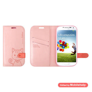 LADOUCE Cat Eye Diary Case for Galaxy S4 SIV - Cute Character Card Pocket Cover