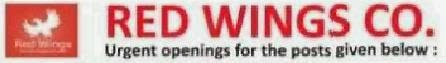 Walk in interview at Red Wings Co. for Various posts