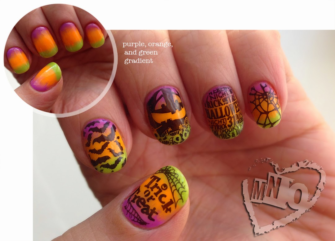 Halloween nail design spider web pumpkin candy bats gradient stamp