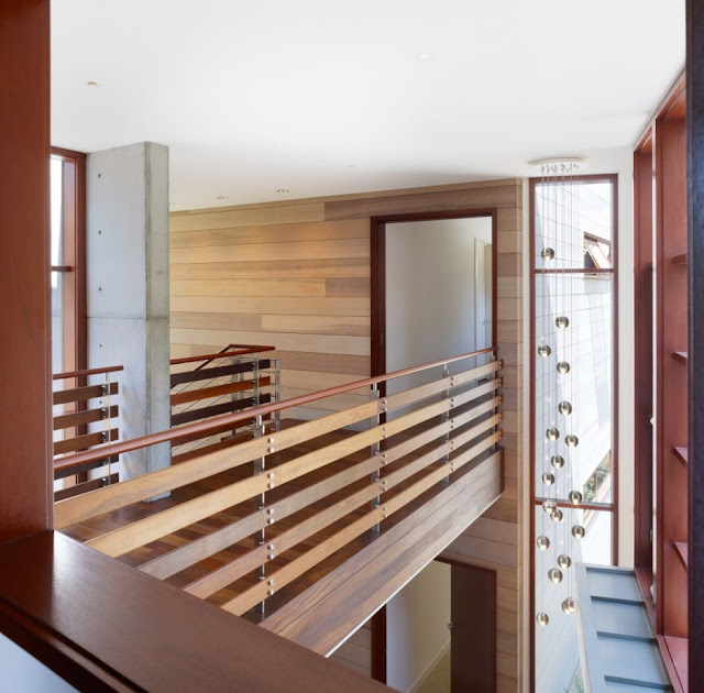 Interior bridge of the Mandeville Canyon Residence