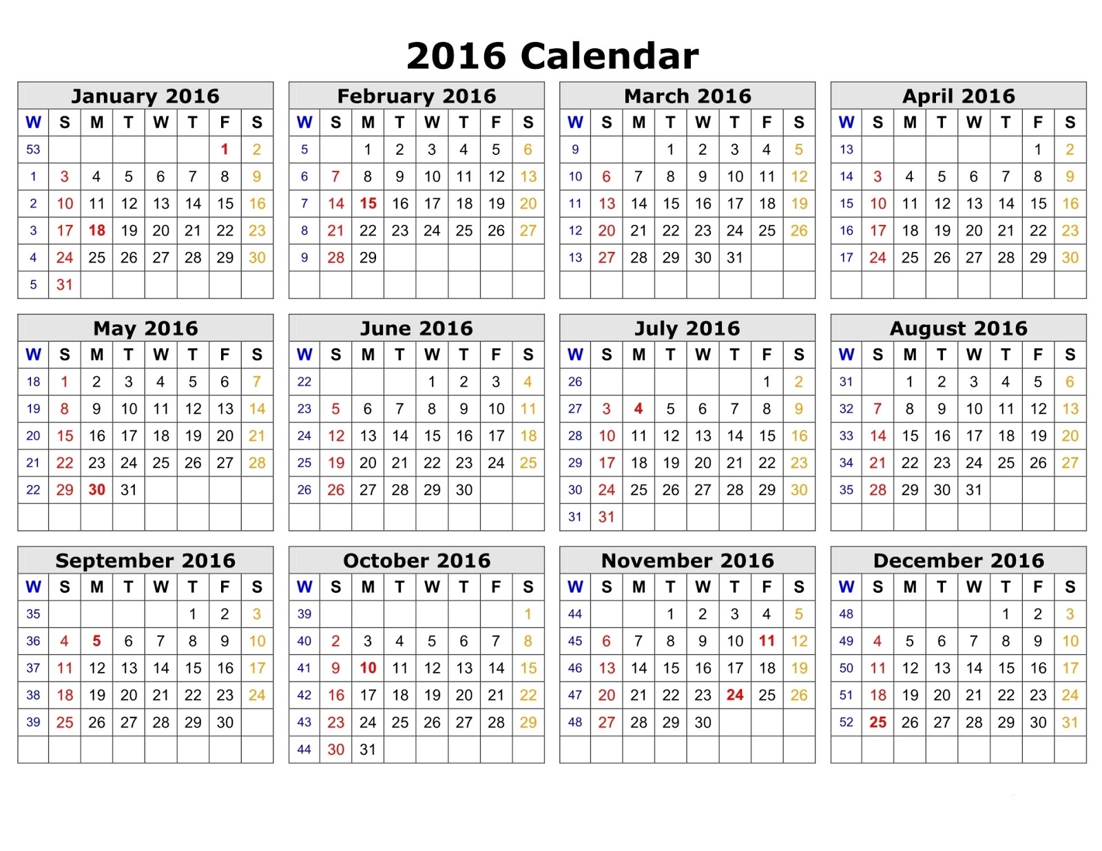 Free]^ Printable Calendar 2016: 2016 Printable Calendar with Week ...