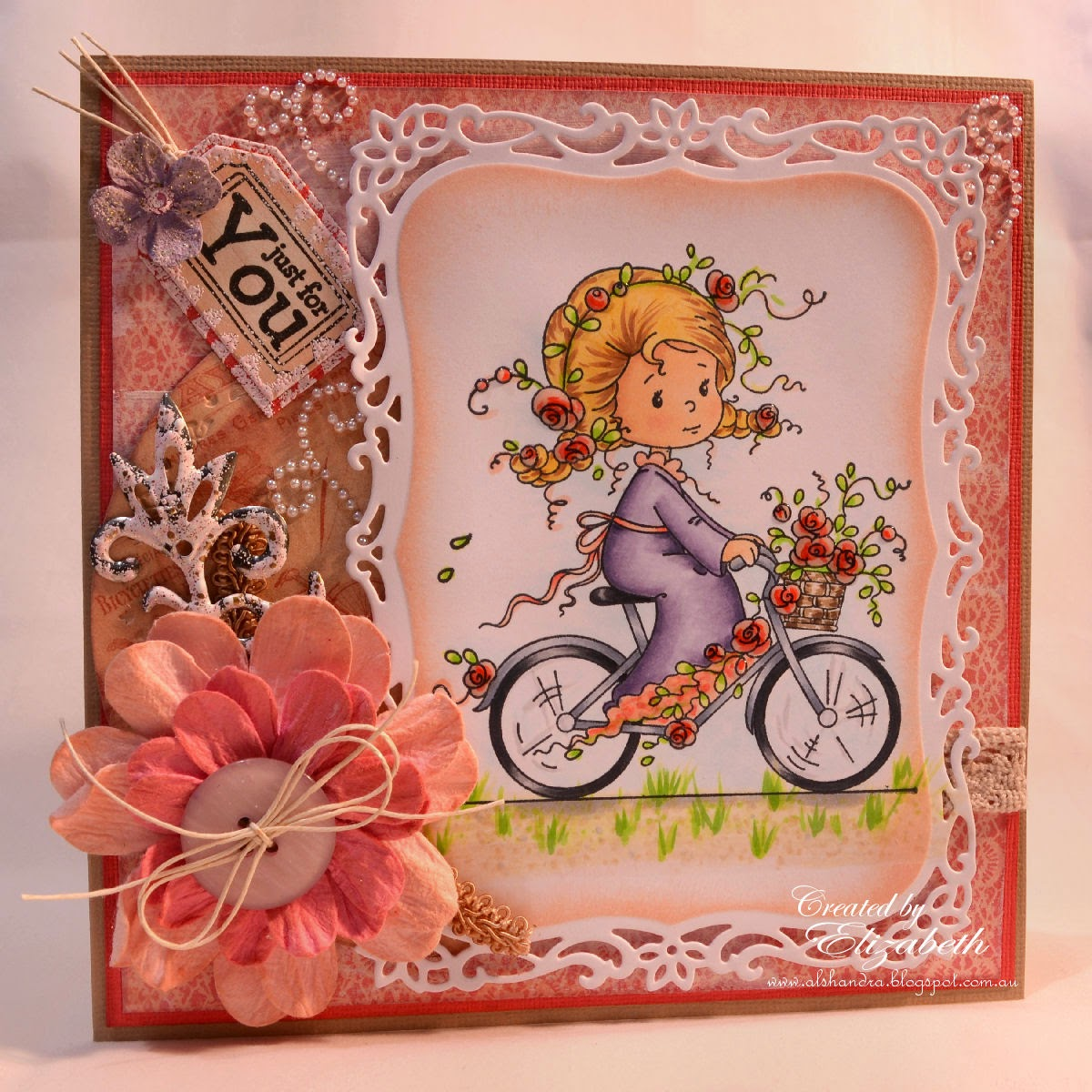 Elizabeth Whisson, Whimsy Stamps, Wee Stamps, Rose's Bike Ride, flowers, heat embossing, copics, copic colouring, copic coloring, copic sketch, just for you, handmade card