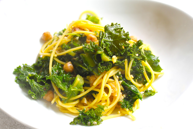 Garlic Quinoa Spaghetti with Chickpeas and Braised Kale , adapted from ...