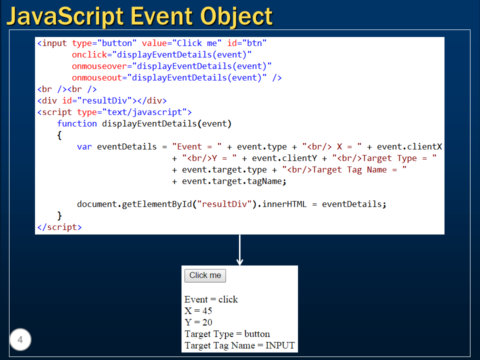 Sql server, .net and c# video tutorial: JavaScript event