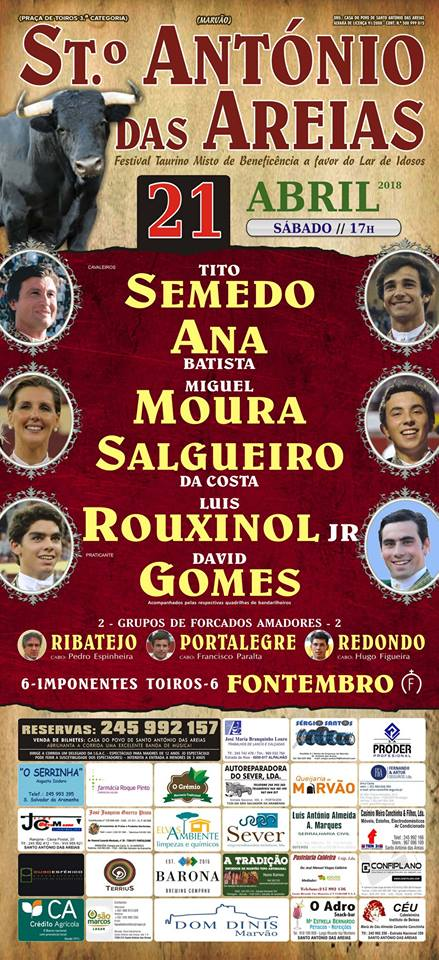 SANTO ANTÓNIO DAS AREIAS PORTUGAL) 21-04-2018 CORRIDA Á PORTUGUESA.