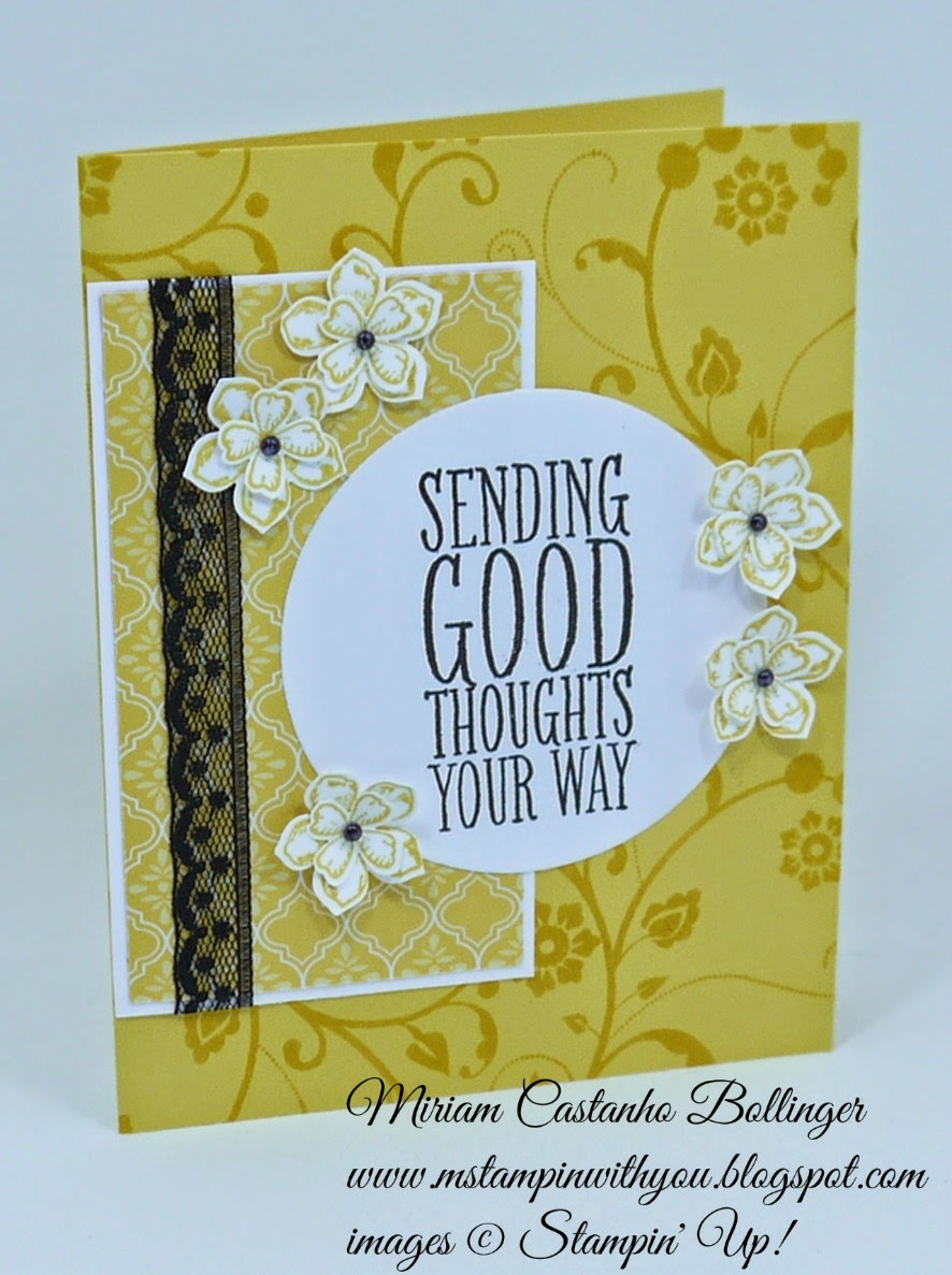 Miriam Castanho Bollinger, #mstampinwithyou, stampin up, demonstrator, fusion sunflower, flowering flourishes, perfect pennants, petite petals, something to say stamp set, petite petals punch, itty bitty accents punch, circle collections framelit, heat embossing, su