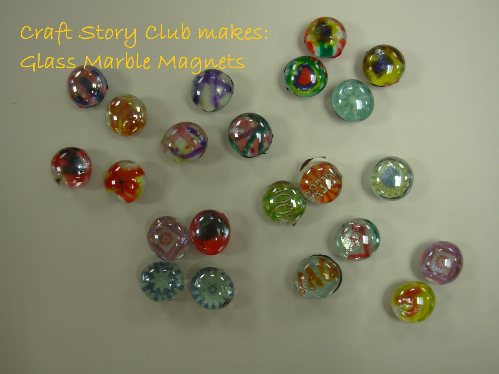 Flat glass marbles crafts - Flat Glass Marble Crafts Craft Story Club Glass Marble Magnets I Can T Remember Why