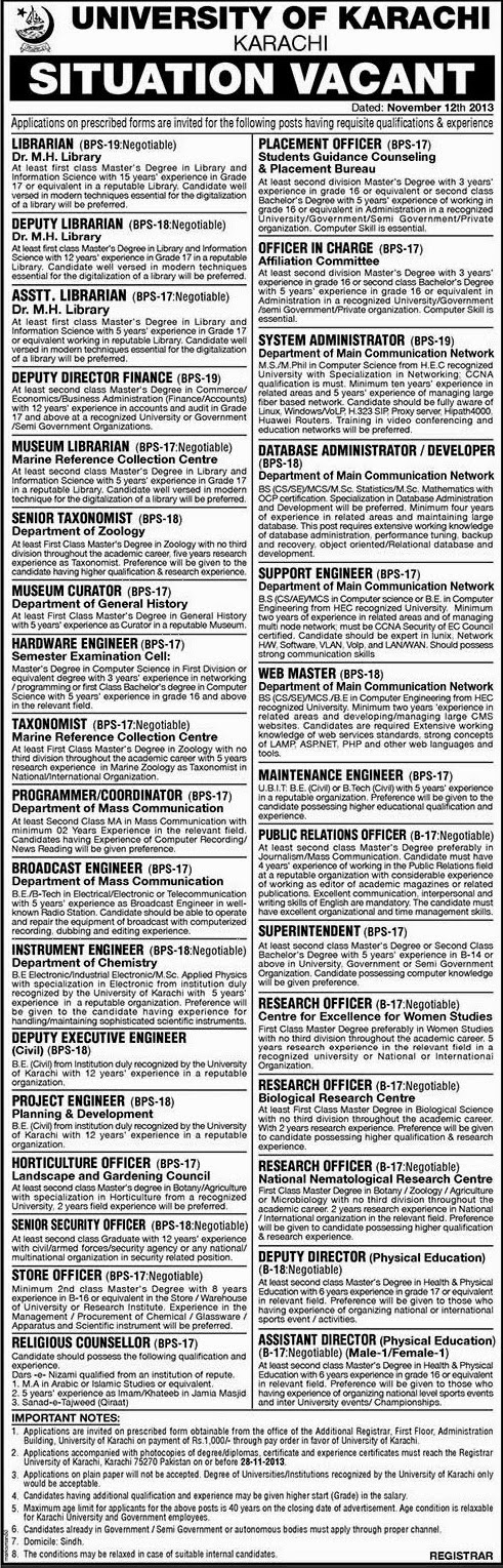 Government Jobs in University Of Karachi
