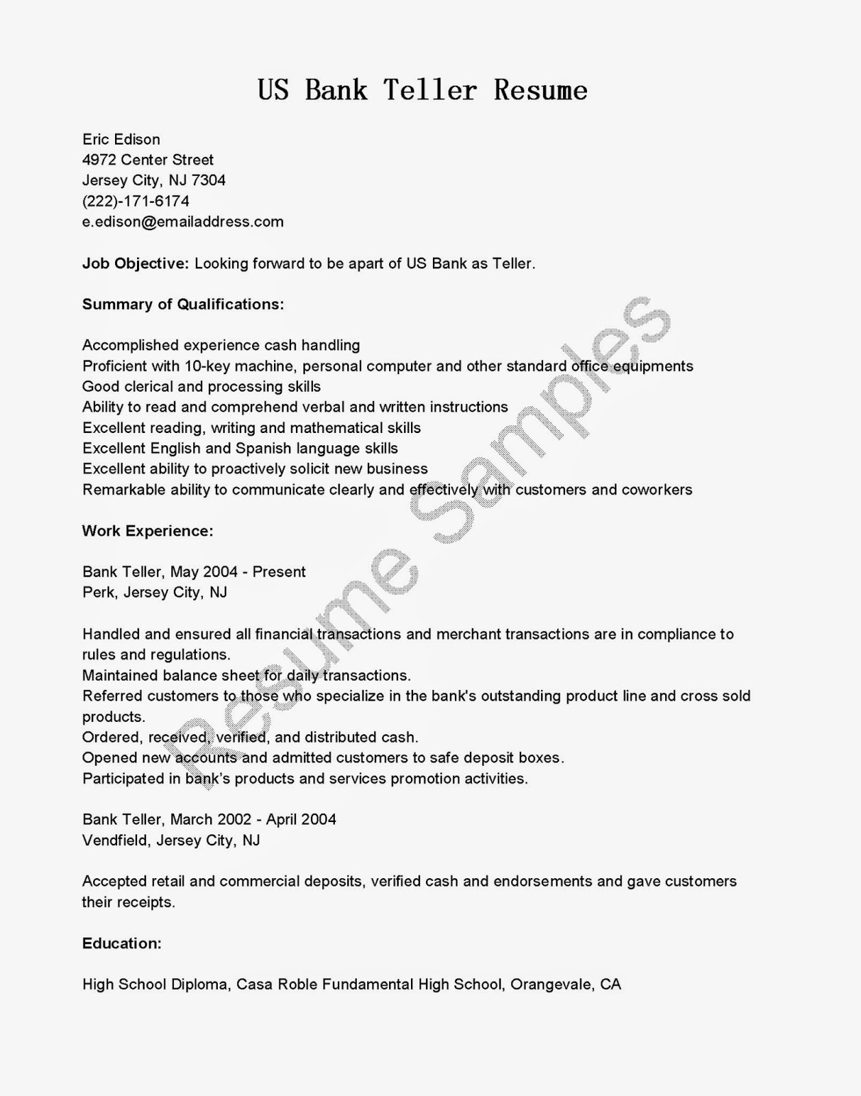 Resume example for bank teller