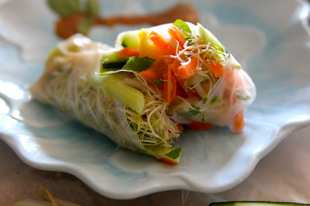 ... healthier life: Vegetable Spring Rolls with an Almond Dipping Sauce