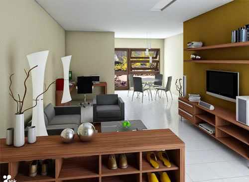 Desain interior ruang keluarga kecil minimalist photo