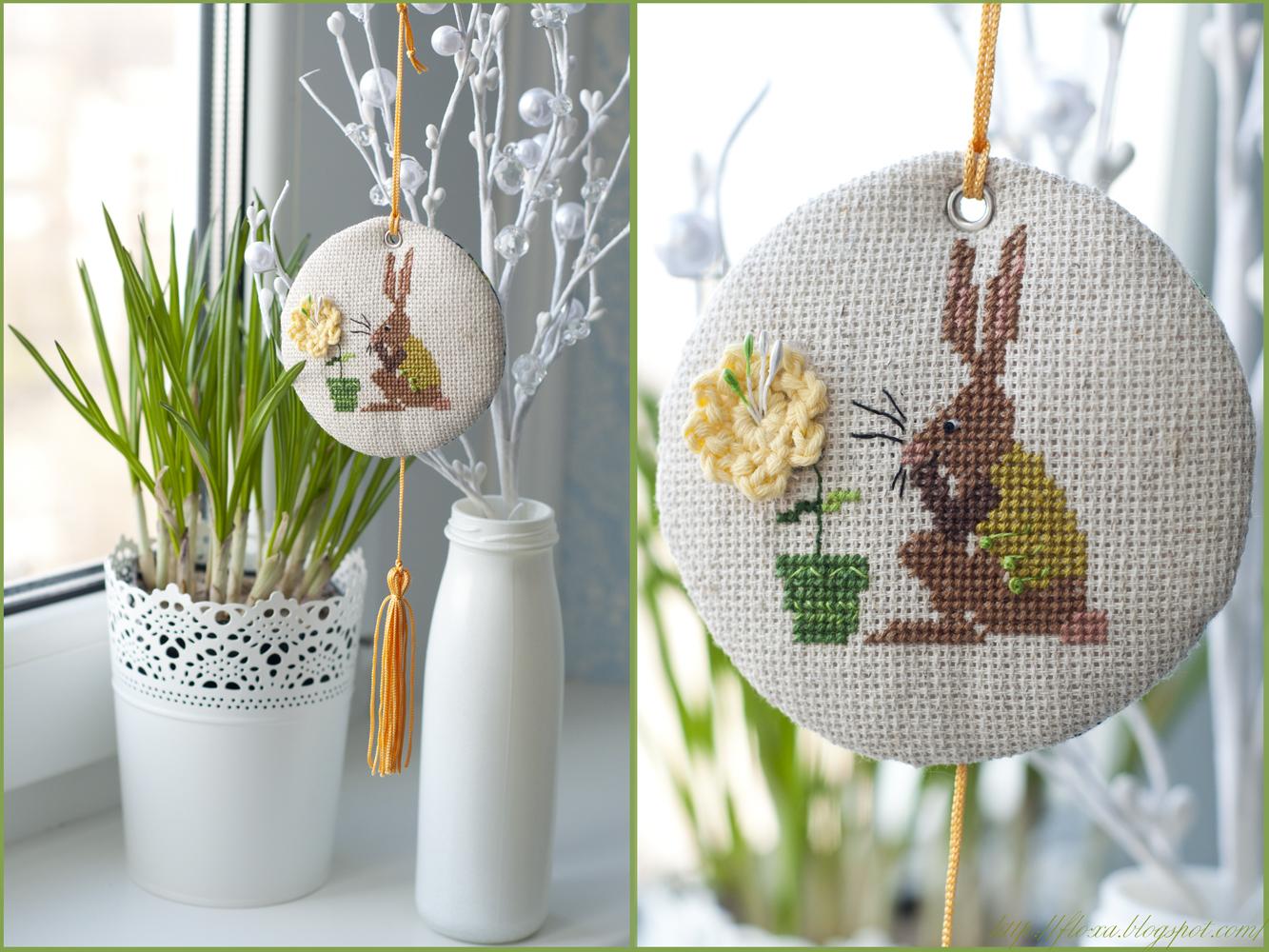 Christiane Dahlbeck, вышивка кролик, вышивка пинкип, весенний пинкип, круглый пинкип, кролик с цветочком
