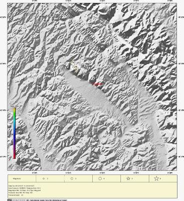 Mappa degli eventi sismici odierni in un raggio di 20 km da Gubbio