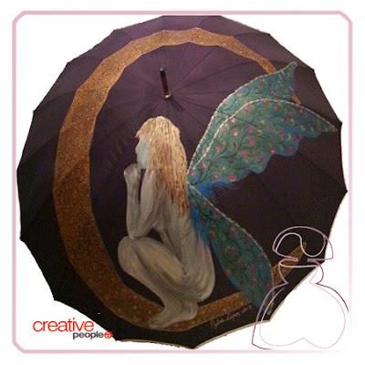 Paraguas pintado a mano modelo Hada por Sylvia Lopez Morant