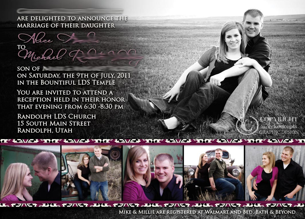 Millie + Mikeu0027s Damask Wedding Invites   5x7 Invitation U0026 4x4 Insert