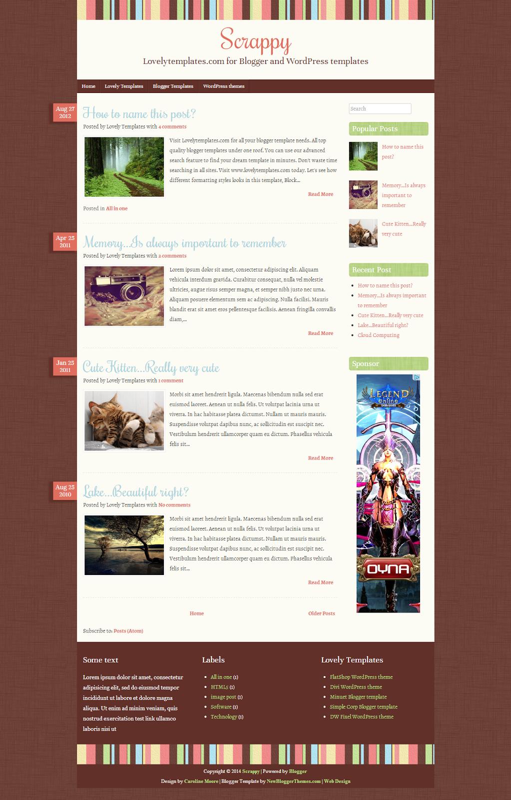 Blogger Scrappy Blog Teması