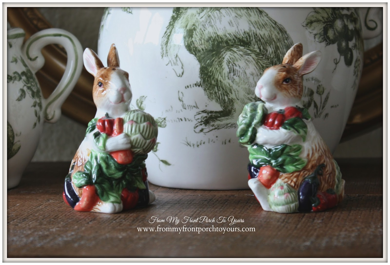 French Farmhouse Spring-Bunny Salt & Pepper Shakers- Breakfast Nook- From My Front Porch To Yours