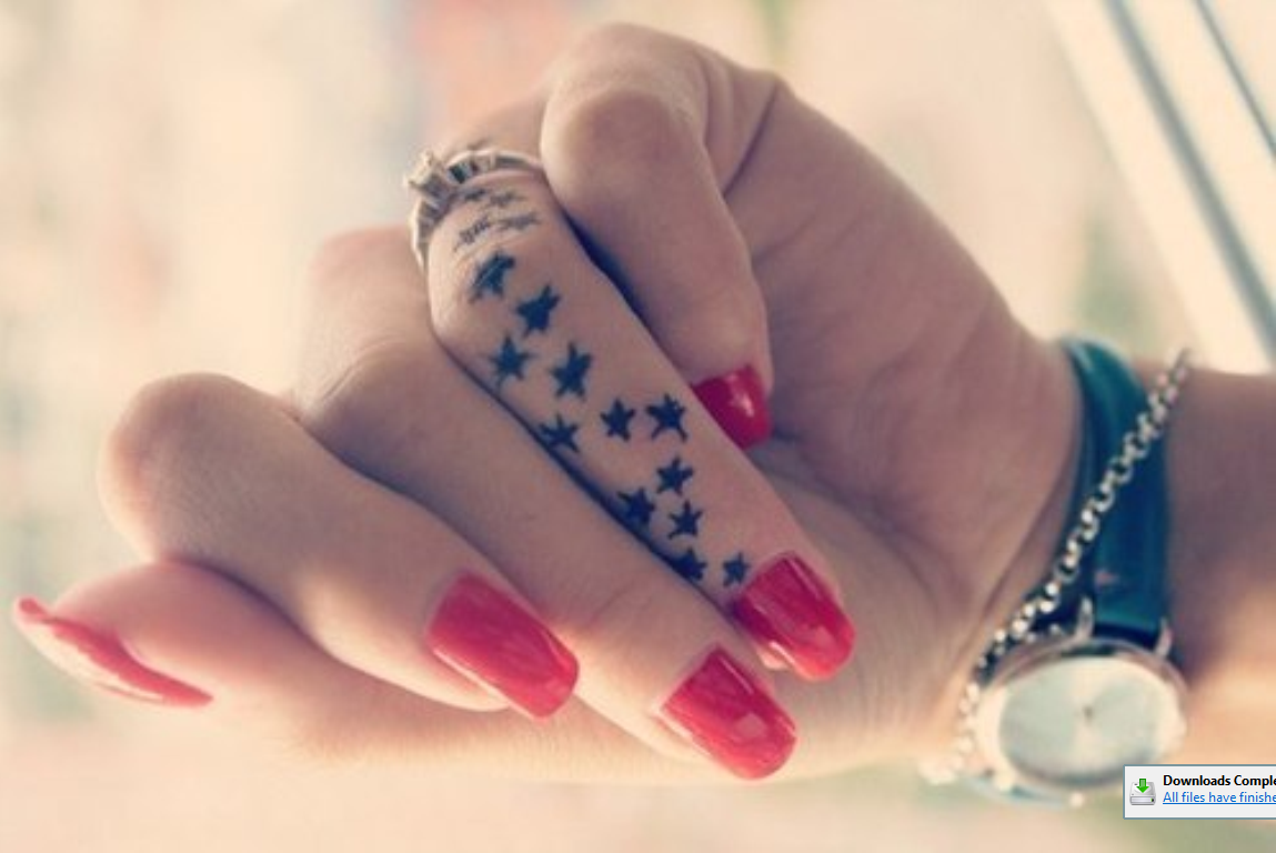Cute Stars Tattoo On Finger