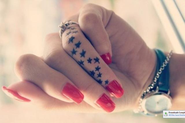 Cute Stars Tattoo On Finger