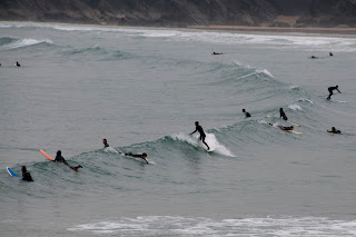 Surfers in the bay. Newquay Cornwall